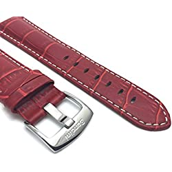 26mm Red Mens' Alligator Style Genuine Leather Watch Strap Band, With White Stitching