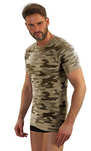 Sesto Senso® Militär Funktionsunterwäsche kurzarmes Unterhemd Funktionsshirt Sportbekleidung Moro Camo Fahrrad Motor Angeln Jagen - THERMOACTIVE (Short M, Piasek) - Militär-thermo-unterwäsche
