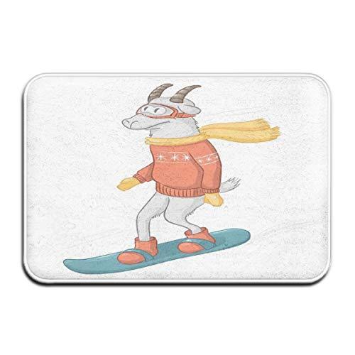 Memory Foam Bath Mat Non Slip Absorbent Super Cozy Plush Bathroom Rug Carpet,Cartoon Goat Figure On A Snowboard Wearing Pullover Scarf And Goggles In Winter Season,Decor Door Mat 23.6 X 15.7 Inches
