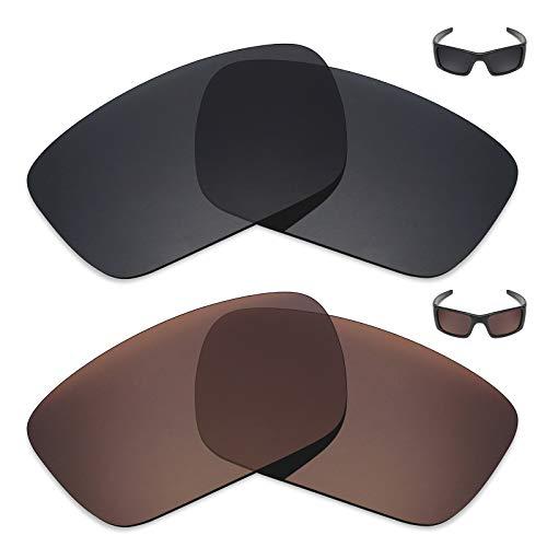 MRY 2Paar Polarisierte Ersatz Linsen für Oakley Fuel Cell Sonnenbrille-Reichhaltige Option Farben, Stealth Black & Bronze Brown