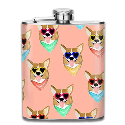 Flask Bottle Stainless Steel Flasks 7 Oz Corgi Love Sunglass Whiskey Flask Hip Flask Leak Proof Wine Men Women
