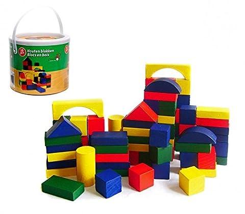 44026 Seau de blocs en bois 50 pcs approprié pour les enfants dès 2 ans