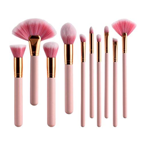 Sharplace Kit Pinceaux Maquillage Professionnel 10pcs, Kit Makeup Brushes, Pinceau Fond de Teint, Poudre, Pinceau Ombre à Paupières, Pinceau Eyeliner.