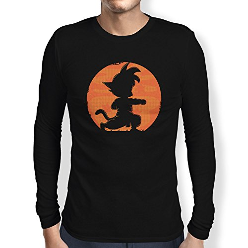 NERDO - Goku Fighting Pose - Herren Langarm T-Shirt Schwarz
