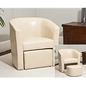 Sofa Collection Cream Faux Leather Tub Chair Matching Footstool-Armchair Seating, 58x70x75 cm
