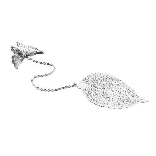 TOYMYTOY segnalibri metallo argento Particolare Farfalla e foglie Segnalibro Fai Da Te per bambini laurea (Silver)