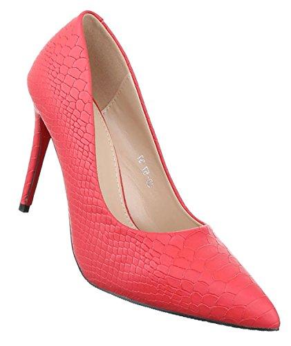Damen Pumps Schuhe High Heels Stöckelschuhe Stiletto Schwarz Beige Rot Weiß 36 37 38 39 40 Rot