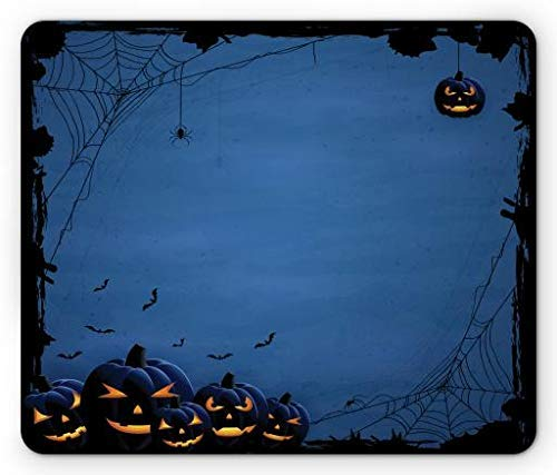 Horror Halloween with Pumpkins Spider and Bat Silhouettes on Blue Background, Standard Size Rectangle Non-Slip Rubber Mousepad, Blue and Black ()