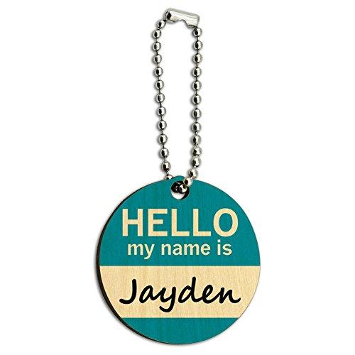 Businesstasche Jayden Hallo Mein Name Ist rund Schlüsselanhänger aus Holz