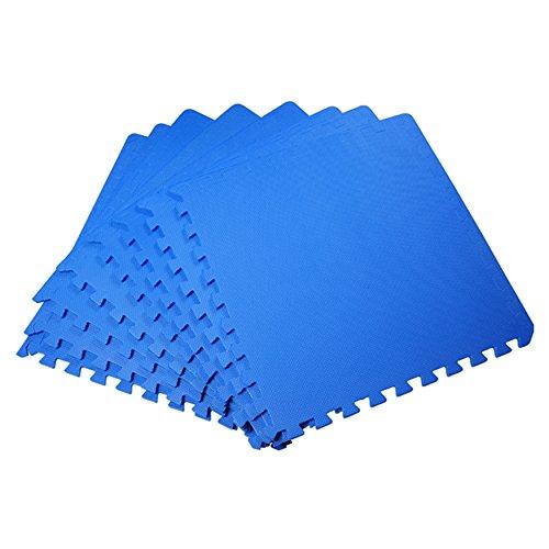 JSG Accessories–exterior/interior protectora suelo alfombrillas -9psc grande negro de enclavamiento de los niños suave espuma EVA alfombra de juegos en color azul