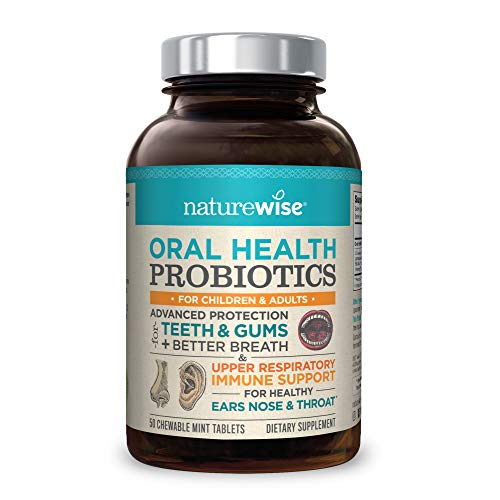 NatureWise Oral Health Chewable Probiotics: Clinically Proven Protection for Teeth & Gums with Advanced Ear, Sinus & Throat Immune Support for Kids & Adults, 50-Day Supply