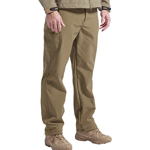 FREE SOLDIER Outdoor vollständig Herren Softshell Fleece gefüttert Walking Hose wasserdicht winddicht Warm Winter Hose(Braun M) (Softshell Cycling Tight)