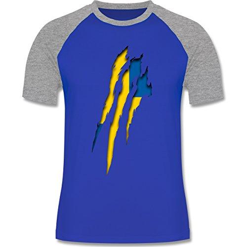 Länder - Schweden Krallenspuren - zweifarbiges Baseballshirt für Männer Royalblau/Grau meliert