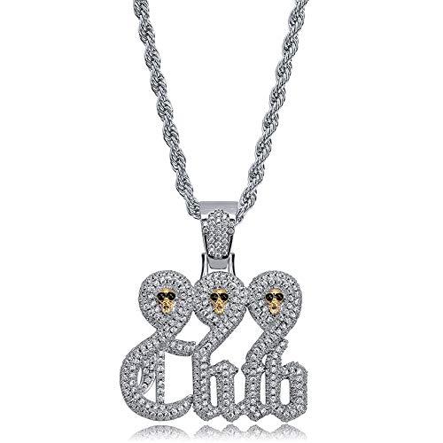 MKHDD Persönlichkeit Schädel 999 Club Halskette Seil Kette Gold Farbe Kubikzircon Herren Hip Hop Schmuck Für Geschenk