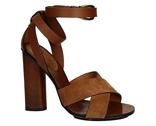 Gucci sandalo con tacco Candy in camoscio e pelle cuoio - Codice modello: 381393 CRP10 2535 - Taglia: 39 IT