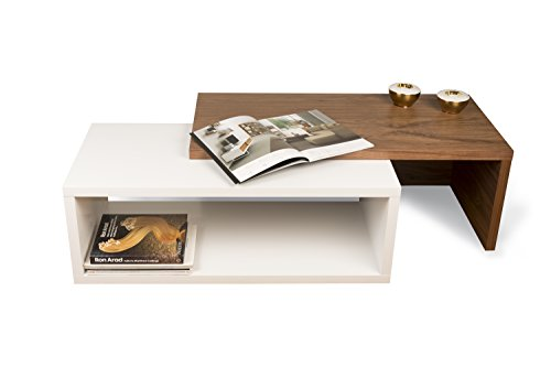 TemaHome Jazz Table de Salon, Bois, Noyer/Blanc, 90 x 45 x 18 cm