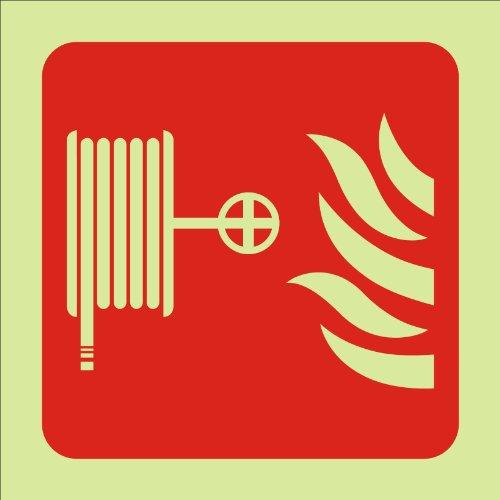 FIRE POINT SIGN PHOTOLUMINOUS BOBINE DE TUYAU EN PLASTIQUE 100 X 100 MM