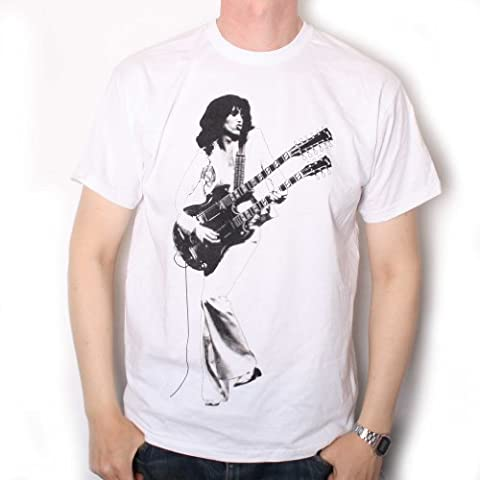 Jimmy Page T Shirt - Double Neck Gibson Picture Led Zeppelin 100% Official