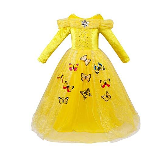 Princess Dress Kostüm Brust Up - MICHAELA BLAKE Halloween-Kostüm-Abend kleines Mädchen Prinzessin-Kleid-Kostüm-lange Hülse LayeredDress forHalloween Themed Party 140 cm