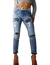 if she Damen Denim Jeans-Hose Super Stretch mit Ornament-Flicken Distressed blau verwaschen Used Effekt extrem zerfranst Strass Steine