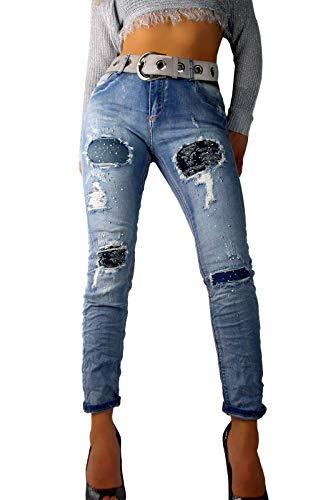 4757e19bed75 if she Damen Denim Jeans-Hose Super Stretch mit Ornament-Flicken Distressed  blau verwaschen Used Effekt extrem zerfranst Strass Steine, Größe L