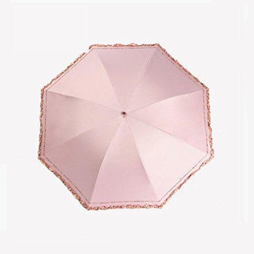 KKY-ENTER Einfacher blasser rosa Regenschirm weiblicher Anti-ultravioletter Sonnenschirm drei faltender Regenschirm personifizierter kreativer Regenschirm beweglicher Regenschirm