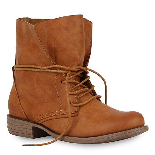Stiefelparadies Damen Stiefeletten Schnürstiefeletten Leder-Optik Schuhe Kurzschaft-Stiefel Boots Klassische Schnürboots 59677 Braun 36 Flandell