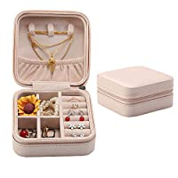 GoMaihe Jewellery Box, 10×10×5cm Small Travel Jewellery Organiser Ring Earring Box Storage, Travel Accessories for Women Girls, Gifts for Birthday Valentine