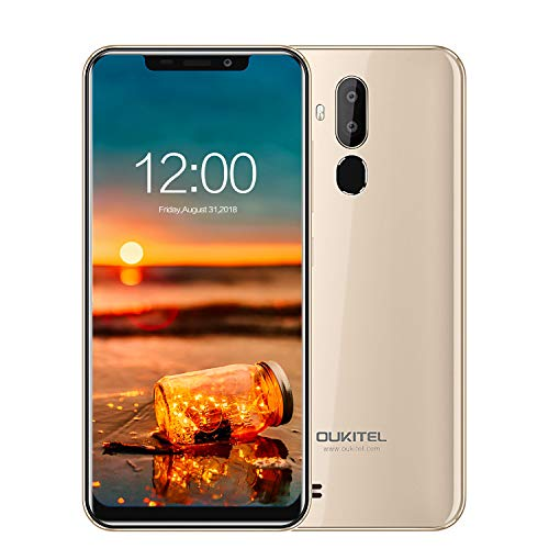 Smartphone ohne Vertrag, Oukitel C12 Pro 4G Mobiltelefon (6,18 Zoll, Face-ID, Fingerprint, 3300mAh-Akku, 2G+16 GB, Android 8.1, 8.0MP+2.0MP 5.0MP Kamera) Gold