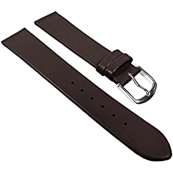 Eulit Replacement Band Watch Band Leather Strap Dolly dark brown 22680S, width:18mm