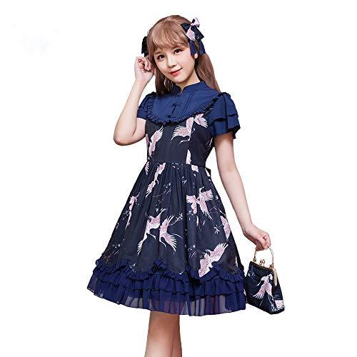 QAQBDBCKL Herbst Neue Chinesische Art Süßes Lolita Kleid Kurze Ärmel Schlanke Frauen Lolita Kleid Großhandel (Großhandel Kleider Frauen)