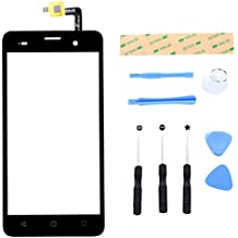 Lusee® Digitizer Bildschirm für Wiko Jerry Vorderseite Ersatz Touch Screen Display Reparatur Touchscreen Glas Replacement Front Komplettes Glas Touch Panel mit Werkzeug Set Schwarz