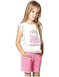 Night Suit for Toddlers - White and Pink Color - Soft Sinker Material - Printed Night Suit - Half Sleeves Top and Bermuda Set - Available for 2/3/4/5/6 Year old Girls - Casual wear for Kids