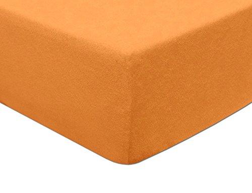MODHAUS Spannbettlaken Betttuch Frottee Bettlaken (200-210x220) LACHS -