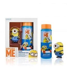 Minions Despicable Me Kids Water toy & Shampoo Bubble Bath Squirter Set - blue