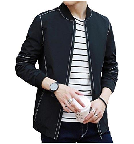 CuteRose Men's Fashion Zip-Up Mandarin Collar Flight Bomber Jacket Black XL (Designer Suits Pant)