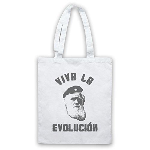 Charles Darwin Viva La Evolucion Umhangetaschen Weis