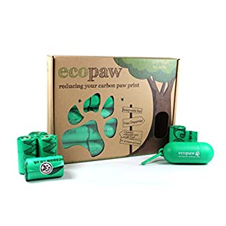 ecopaw Dog Poo Bags   Biodegradable   300 Large Poop Bags   Scented   20 Rolls of Strong Heavy Duty Bags   FREE Straw… 22