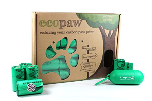 ecopaw Dog Poo Bags   Biodegradable   300 Large Poop Bags   Scented   20 Rolls of Strong Heavy Duty Bags   FREE Straw… 1