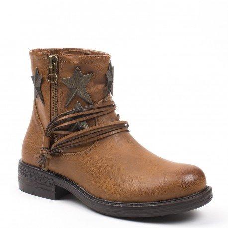 Ideal Shoes - Bottines en similicuir décorées d'étoiles Mialy Camel