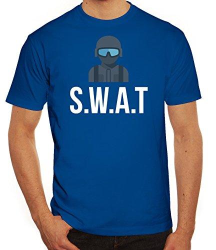 Fasching Karneval Herren T-Shirt mit SWAT Kostüm 2 Motiv von ShirtStreet Royal Blau