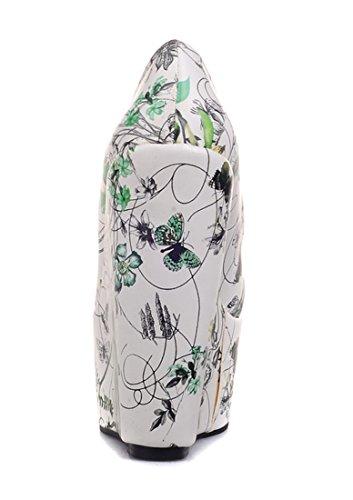 UH Femmes Sandales à Talons Haut Compensees avec Plateforme Confortables et Flora Simple Bout Ferme Vert