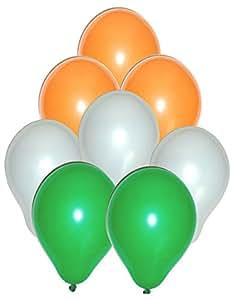Tiger 50163 Tringa Balloons Tri Color Orange, White & Green (Pack of 50)