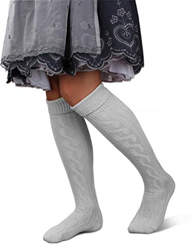 GearUp Lange und Kurze Trachtensocken für Damen | Trachtenstrümpfe fürs Oktoberfest | Kniebundhosenstrümpfe passend zu Dirndl oder Lederhose Farbe Weiß kurz Größe 35/38