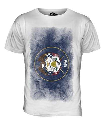 CandyMix Bundesstaat Utah Verblichen Flagge Herren T Shirt Weiß