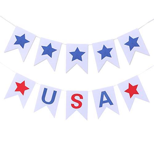 Amosfun USA mit Star Felt Banner 4. Juli Hanging Burgee Falg amerikanischen Nationalfeiertag Dekoration Independence Day Supplies 2PCS
