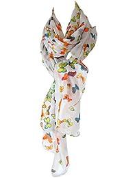 Grand foulard étole paréo 100% soie papillons multicolores 110 x 180 [Vêtements]