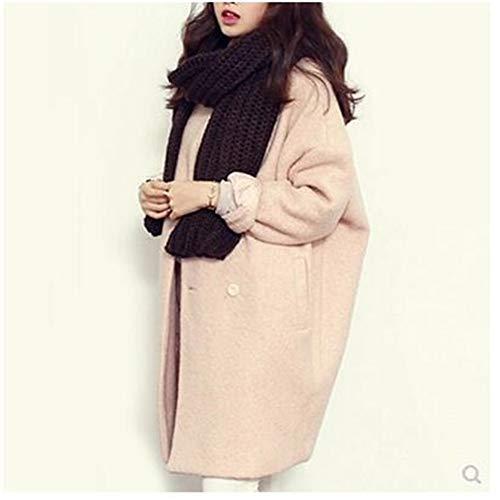 IOSDH8 Winter Frauen Mantel Mode Mittellange Einfarbig Mischungen Jacke Beiläufige Lose Große Größe Weiblichen Mantel, L, rosa - Wolle-mischung Military Mantel