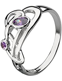 Heritage Women's Sterling Silver and Amethyst Art Nouveau Flowing Knot Ring