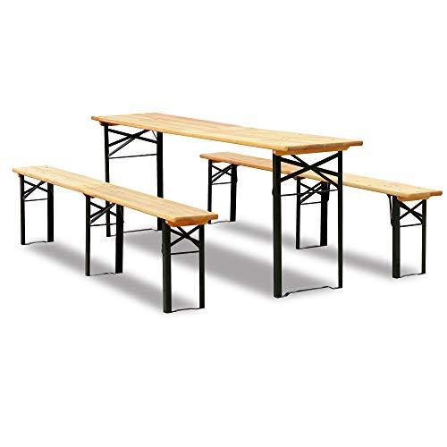 Biertisch mit Sitzbank 3-Teiliges bewegliches Picknicktisch Patio-Garten, Hölzerner Tischplatten Satz Liefern (216cm)